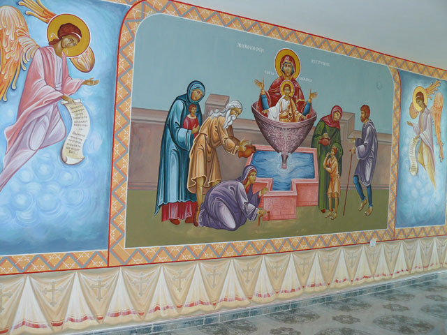 The Virgin Mary. A Source of Life. Wall-painting